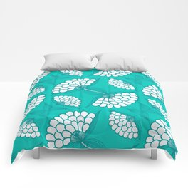 African Floral Motif on Turquoise Comforters