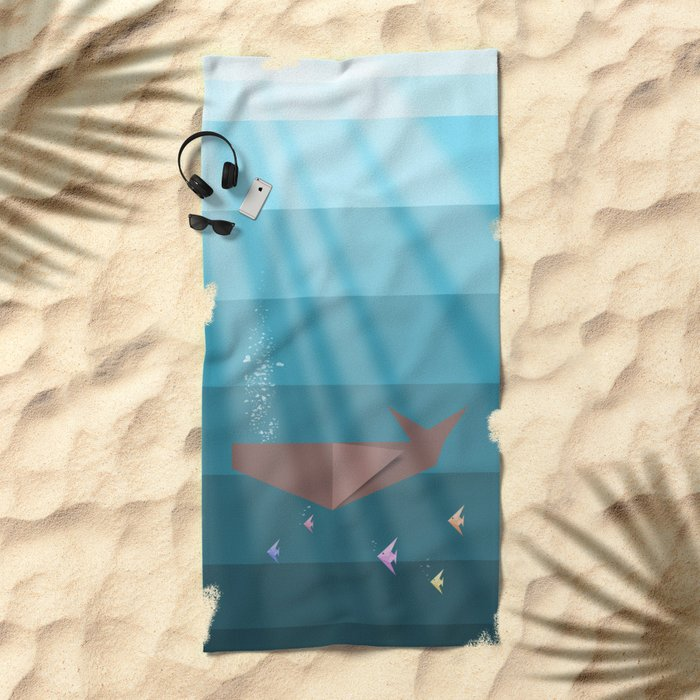 LIVING SEA (origami animals whales) Beach Towel