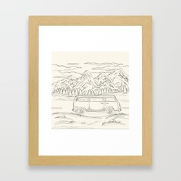 Mountain Road Linescape Framed Art Print