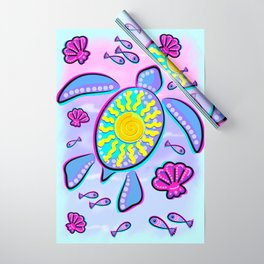 Sea Turtle and Sun Abstract Glitch Ultraviolet Symbol Wrapping Paper