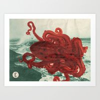 octopus Art Prints featuring Octopus Beach by Chase Kunz