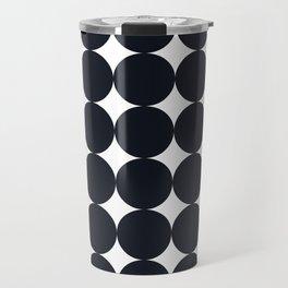 Large Black Dots on White Travel Mug