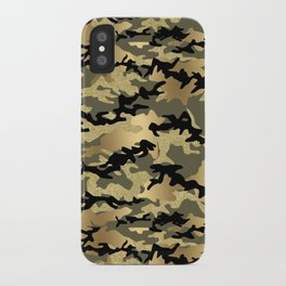 Gold Green Army Print Camouflage iPhone Case