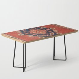 Southwest Tuscan Shapes II // 18th Century Aged Dark Blue Redish Yellow Colorful Ornate Rug Pattern Coffee Table