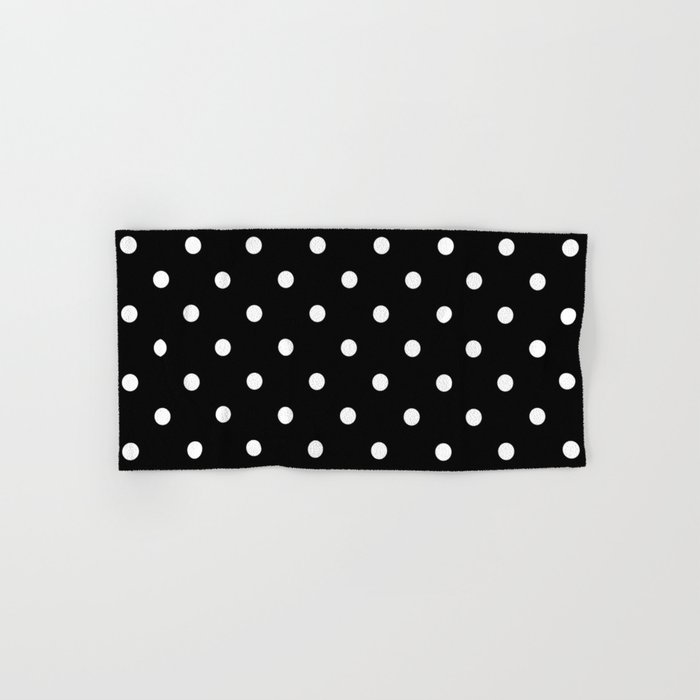 Bath Towel Sets Black And White: Black & White Polka Dots Hand & Bath Towel By