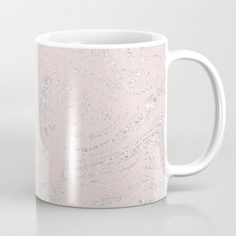 Blush pink elegant silver glitter abstract marble Coffee Mug