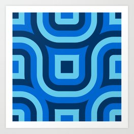 Blue Truchet Pattern Art Print