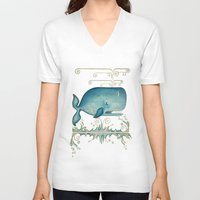 the whale V-neck T-shirts featuring WHALE by Patrizia Ambrosini