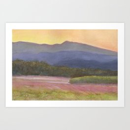 Setting sun over cane field in country NSW Art Print