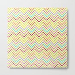 Colorful pink green red geometric zigzag chevron pattern Metal Print