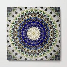 Bohemian Bright Blue and Gold Mandala Metal Print