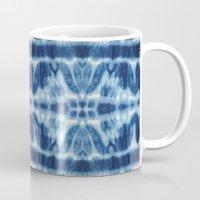 tie dye Mugs featuring Tie Dye Blues Twos by Nina May Designs