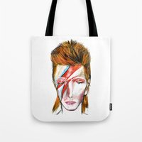 bowie Tote Bags featuring Bowie by James Peart