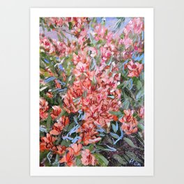LET LIFE BE PASSIONATE LIKE SUMMER BOUGAINVILLEA-Original floral painting by HSIN LIN Art Print