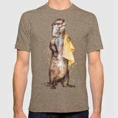 otter LARGE Mens Fitted Tee Tri-Coffee