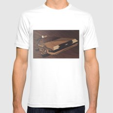 Time machine wooden marquetry White SMALL Mens Fitted Tee