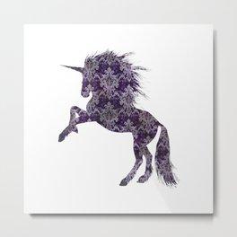 Purple Boho Unicorn Metal Print