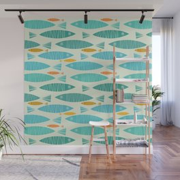 Shimmering Scandinavian Fish In Blue And Gold Pattern Wall Mural