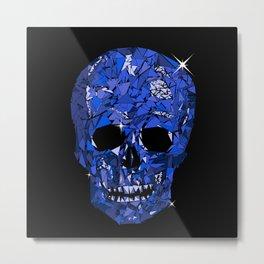 Blue Geometric Skull Metal Print