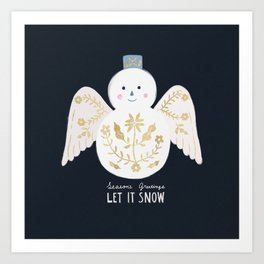 Holiday Flower Snowman Art Print