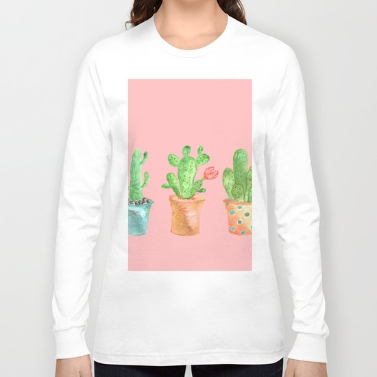 Three Green Cacti On Pink Background Long Sleeve T-shirt