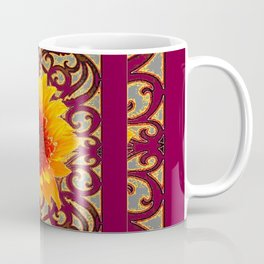 BURGUNDY Colored Golden Sunflowers  Grey Pattern Coffee Mug