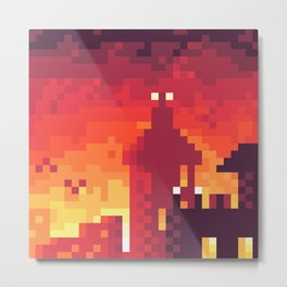 Pixel Town at Sundown Metal Print