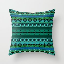 Aztec Greens Throw Pillow