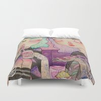 loll3 Duvet Covers featuring Pizza Party by lOll3