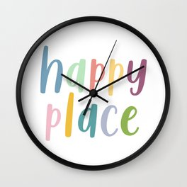 Happy Place | Motivational Colourful Typography Wall Clock