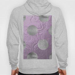 Cute big silver polka dots on purple background Hoody