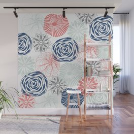Floral Pattern in Coral Red, Navy Blue and Aqua Wall Mural