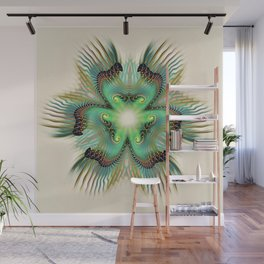 Teal Fringed Flower Wall Mural