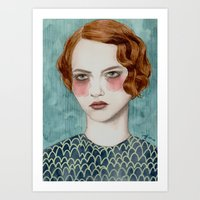 woman Art Prints featuring Sasha by Sofia Bonati