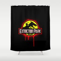 transformer Shower Curtains featuring Extinction Park by emodist