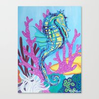 seahorse Canvas Prints featuring Seahorse by Keith Loves Geisha