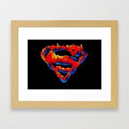 Superman in Flames Framed Art Print