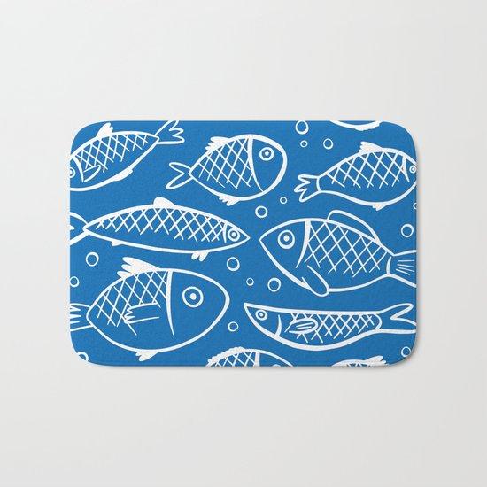 Fish blue white Bath Mat
