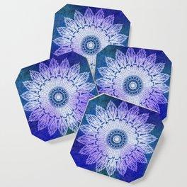 tie dye sunflower mandala in blues Coaster