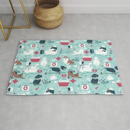 Veterinary medicine, happy and healthy friends // aqua background Rug