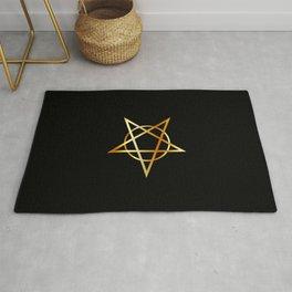Golden inverted upside down Pentagram antichrist symbol Rug