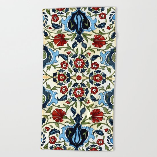 Tile with Carnations Beach Towel