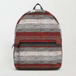 Tree bark wood striped gray red . Backpack