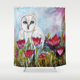 Owl in Poppies Shower Curtain