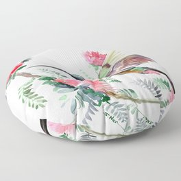 Flying Hummingbird and Red Flowers Floor Pillow
