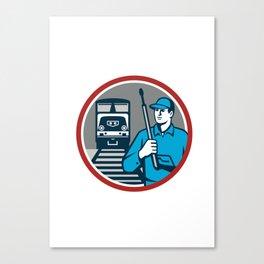 Pressure Washer Train Rail Circle Retro Canvas Print