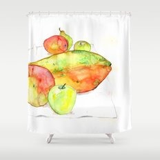 watercolor fruits Shower Curtain