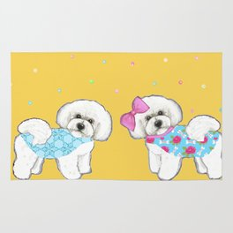Bichon Frise Holidays yellow cute dogs, Christmas gift, holiday gift, birthday gift, dog, Bijon Rug