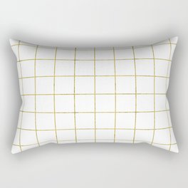 Golden Grid Rectangular Pillow
