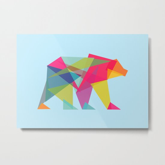 Fractal Bear - neon colorways Metal Print